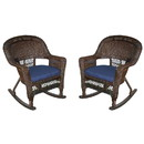 Jeco W00201R-A_2-FS011 Espresso Rocker Wicker Chair With Midnight Blue Cushion - Set Of 2