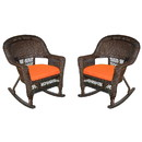 Jeco W00201R-A_2-FS016 Espresso Rocker Wicker Chair With Orange Cushion - Set Of 2