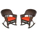 Jeco W00201R-A_2-FS018 Espresso Rocker Wicker Chair With Brick Red Cushion - Set Of 2