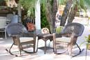 Jeco W00201R-A_2-RCES001 3Pc Espresso Rocker Wicker Chair Set With Ivory Cushion