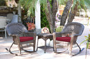 Jeco W00201R-A_2-RCES030 3Pc Espresso Rocker Wicker Chair Set With Red Cushion