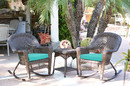 Jeco W00201R-A_2-RCES032 3Pc Espresso Rocker Wicker Chair Set With Turquoise Cushion
