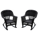 Jeco W00201R-A_2 Espresso Rocker Wicker Chair -  Set of 2