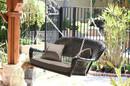 Jeco W00202S-A-FS007 Espresso Wicker Porch Swing with Brown Cushion