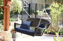 Jeco W00202S-A-FS011 Espresso Wicker Porch Swing with Blue Cushion