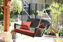 Jeco W00202S-A-FS018 Espresso Wicker Porch Swing with Red Cushion