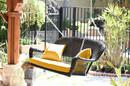 Jeco W00202S-A-FS025 Espresso Resin Wicker Porch Swing With Mustard Cushion