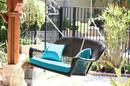 Jeco W00202S-A-FS027 Espresso Resin Wicker Porch Swing With Sky Blue Cushion
