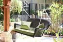 Jeco W00202S-A-FS029 Espresso Wicker Porch Swing with Green Cushion