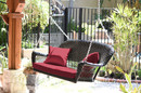 Jeco W00202S-A-FS030 Espresso Resin Wicker Porch Swing With Red Cushion