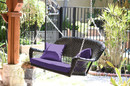 Jeco W00202S-A-FS031 Espresso Resin Wicker Porch Swing With Purple Cushion