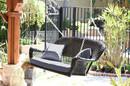 Jeco W00202S-A-FS033 Espresso Resin Wicker Porch Swing With Steel Blue Cushion