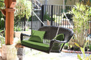 Jeco W00202S-A-FS034 Espresso Resin Wicker Porch Swing With Hunter Green Cushion