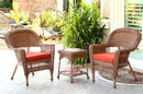 Jeco W00205_2-CES018 Honey Wicker Chair And End Table Set With Brick Red Chair Cushion