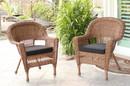 Jeco W00205_4-C-FS017-CS Honey Wicker Chair With Black Cushion - Set Of 4