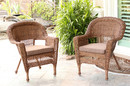 Jeco W00205-C_2-FS007-CS Honey Wicker Chair With Brown Cushion - Set Of 2