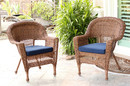 Jeco W00205-C_2-FS011-CS Honey Wicker Chair With Midnight Blue Cushion - Set Of 2