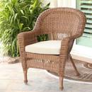 Jeco W00205-C-FS006 Honey Wicker Chair with Tan Cushion
