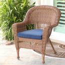 Jeco W00205-C-FS011 Honey Wicker Chair with Blue Cushion