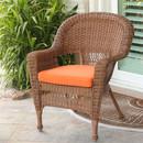 Jeco W00205-C-FS016 Honey Wicker Chair with Orange Cushion