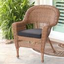 Jeco W00205-C-FS017 Honey Wicker Chair with Black Cushion