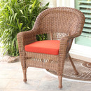 Jeco W00205-C-FS018 Honey Wicker Chair with Red Cushion