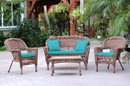 Jeco W00205-G-FS032 4Pc Honey Wicker Conversation Set - Turquoise Cushions