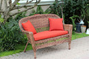 Jeco W00205-L-FS018-CL Honey Wicker Patio Love Seat With Brick Red Cushion And Pillows