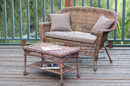 Jeco W00205-LCS007 Honey Wicker Patio Love Seat And Coffee Table Set With Brown Cushion