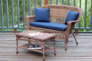 Jeco W00205-LCS011 Honey Wicker Patio Love Seat And Coffee Table Set With Blue Cushion