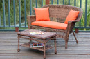 Jeco W00205-LCS016 Honey Wicker Patio Love Seat And Coffee Table Set With Orange Cushion