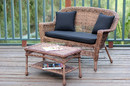Jeco W00205-LCS017 Honey Wicker Patio Love Seat And Coffee Table Set With Black Cushion
