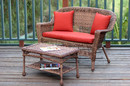 Jeco W00205-LCS018 Honey Wicker Patio Love Seat and Coffee Table Set with Red Orange Cushion