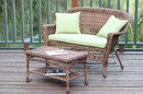 Jeco W00205-LCS029 Honey Wicker Patio Love Seat And Coffee Table Set With Green Cushion
