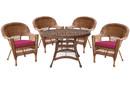 Jeco W00205D-C-G-FS030 5Pc Honey Wicker Dining Set - Red Cushions