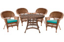 Jeco W00205D-C-G-FS032 5Pc Honey Wicker Dining Set - Turquoise Cushions
