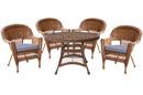 Jeco W00205D-C-G-FS033 5Pc Honey Wicker Dining Set - Steel Blue Cushions