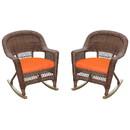 Jeco W00205R-C_2-FS016 Honey Rocker Wicker Chair With Orange Cushion - Set Of 2
