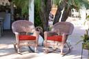 Jeco W00205R-C_2-FS018 Honey Rocker Wicker Chair With Brick Red Cushion - Set Of 2