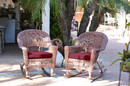 Jeco W00205R-C_2-FS030 Honey Rocker Wicker Chair With Red Cushion - Set Of 2