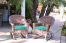 Jeco W00205R-C_2-FS032 Honey Rocker Wicker Chair With Turquoise Cushion - Set Of 2