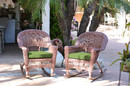 Jeco W00205R-C_2-FS034 Honey Rocker Wicker Chair With Hunter Green Cushion - Set Of 2