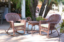 Jeco W00205R-C_2-RCES001 3Pc Honey Rocker Wicker Chair Set With Ivory Cushion