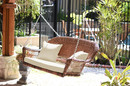Jeco W00205S-C-FS001 Honey Resin Wicker Porch Swing With Ivory Cushion