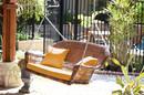 Jeco W00205S-C-FS025 Honey Resin Wicker Porch Swing With Mustard Cushion