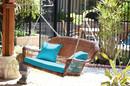 Jeco W00205S-C-FS027 Honey Resin Wicker Porch Swing With Sky Blue Cushion