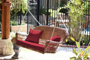 Jeco W00205S-C-FS030 Honey Resin Wicker Porch Swing With Red Cushion