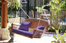 Jeco W00205S-C-FS031 Honey Resin Wicker Porch Swing With Purple Cushion