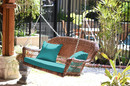 Jeco W00205S-C-FS032 Honey Resin Wicker Porch Swing With Turquoise Cushion