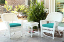 Jeco W00206_2-CES032 White Wicker Chair And End Table Set With Turquoise Chair Cushion